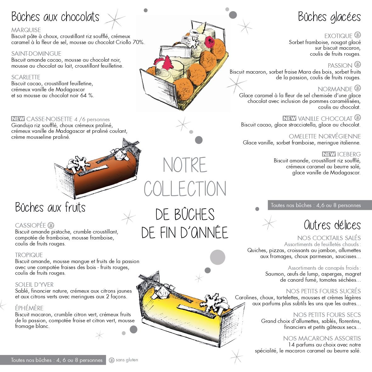 collection de bûches pour noël yver pâtissier